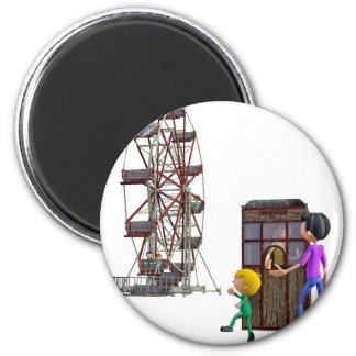 Vater und Sohn bereit, ein Riesenrad zu reiten Runder Magnet 5,1 Cm
