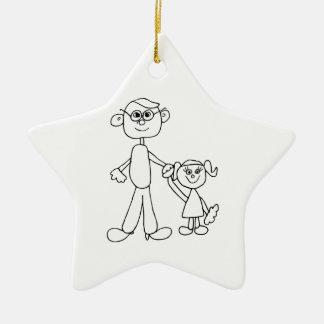 Vater und Tochter Keramik Stern-Ornament