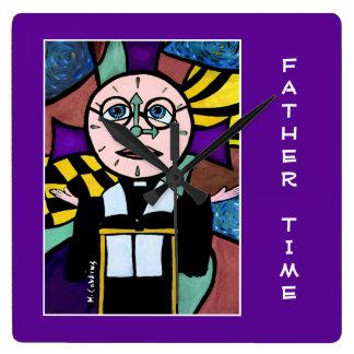 Vater-Zeit auf Lila - Zeit-Stücke Quadratische Wanduhr