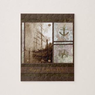 Vatertag, hohe Schiffe, Anker, Karten, Kompass Puzzle