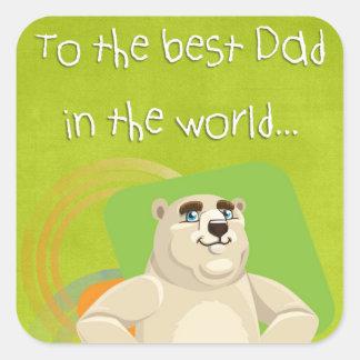 Vatertags-Bärnquadrataufkleber - zum besten Vati Quadratischer Aufkleber