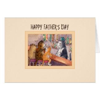 Vatertagskarte, Katzen an einem Bar, das etwas Karte