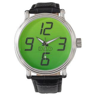 Vati-70er-Grün-Imitat führte retro Artuhr des Uhr