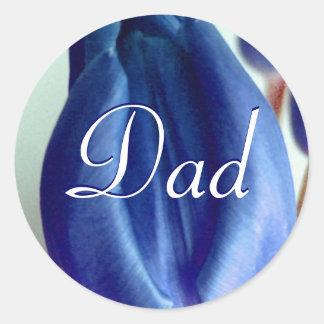 Vati-blaue Tulpe-Aufkleber Runder Aufkleber