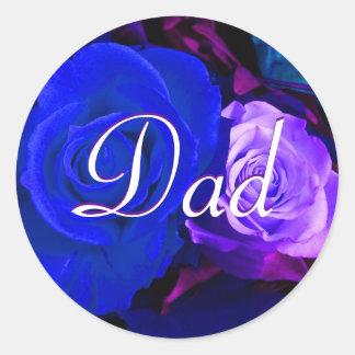 Vati-blauer lila Rosen-Aufkleber Runder Aufkleber