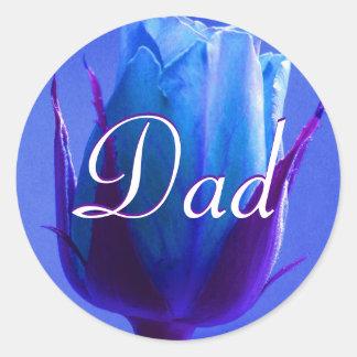Vati-blauer Rosen-Aufkleber Runder Aufkleber