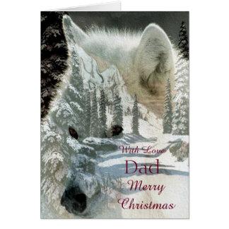 Vati - frohe Weihnachten - weißer Wolf Karte