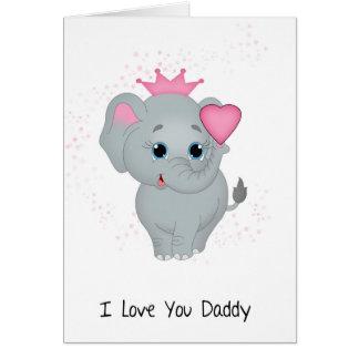 Vati, kleine Elefant-Prinzessin With A Pink Heart Grußkarte