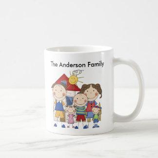 Vati, Mamma, großer Junge, MED-Mädchen, kleine Jun Kaffee Tasse