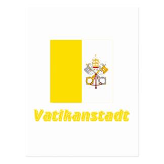 Vatikanstadt Flagge MIT Namen Postkarte