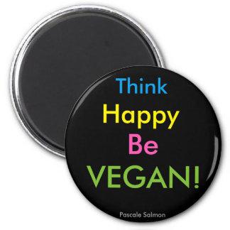 Vegan Be Happy Runder Magnet 5,1 Cm