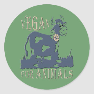 VEGAN FOR ANIMALS - */* 1 RUNDER AUFKLEBER