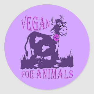 VEGAN FOR ANIMALS - */* 3 RUNDER AUFKLEBER