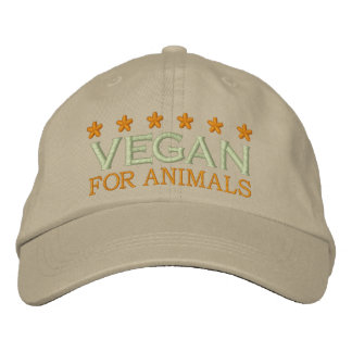 VEGAN FOR ANIMALS BESTICKTE KAPPE