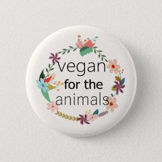 Vegan für das Tierblumenentwurfsabzeichen Runder Button 5,7 Cm