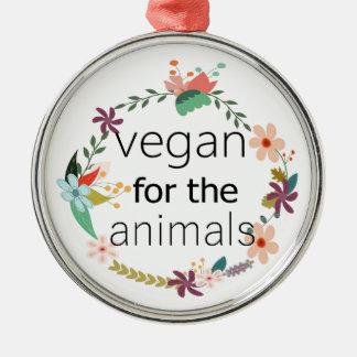 Vegan für den Tierblumenentwurf Silbernes Ornament