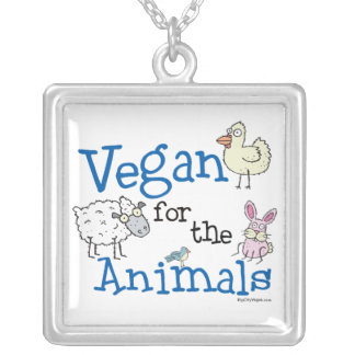 Vegan für die Tier-Halskette Halskette Mit Quadratischem Anhänger