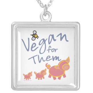 Vegan für Tier-Halskette Halskette Mit Quadratischem Anhänger