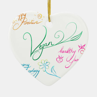 Vegan & happy lifestyle keramik Herz-Ornament