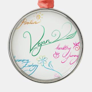 Vegan & happy lifestyle silbernes ornament