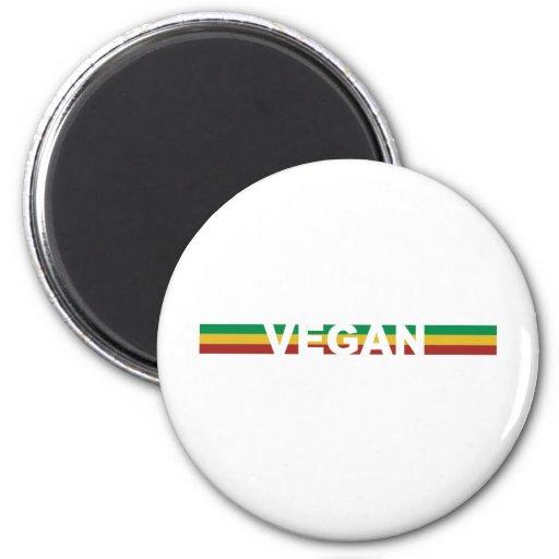 Vegan in Rasta Streifen Magnets