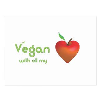 Vegan mit meinem ganzem Herzen (rotes Apfelherz) Postkarte