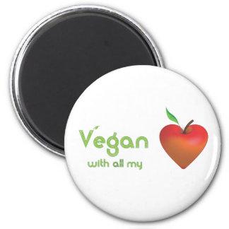 Vegan mit meinem ganzem Herzen (rotes Apfelherz) Runder Magnet 5,1 Cm