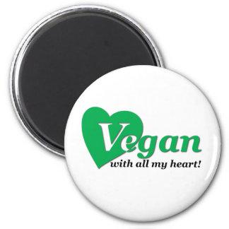 Vegan mit meinem ganzem Herzen Runder Magnet 5,7 Cm