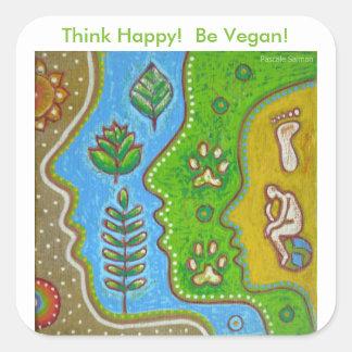 vegan think happy quadratischer aufkleber