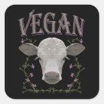 Vegan - Tiere wollen leben Quadrat-Aufkleber
