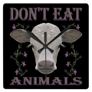 Vegan - Tiere wollen leben - WU07 Quadratische Wanduhr