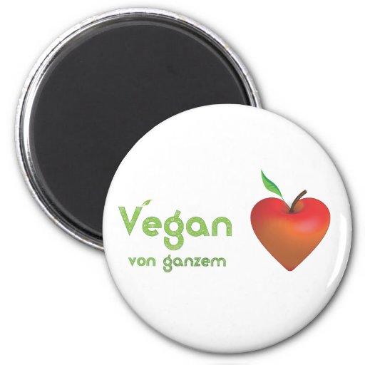 Vegan von ganzem Herzen (rotes Apfelherz) Magnete