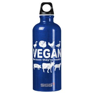 VEGAN, weil sie es wert sind (weiß) Wasserflasche