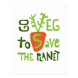 Vegane Hand schriftlicher Slogan mit Postkarte