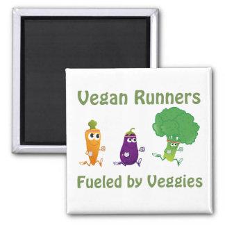 Vegane Läufer - getankt durch Veggies Quadratischer Magnet