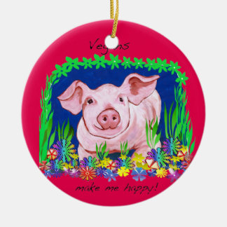 Vegane Schwein-Weihnachtsverzierung Keramik Ornament