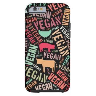 Vegane Wortwolke mit einer Kuh, einem Schwein und Tough iPhone 6 Hülle