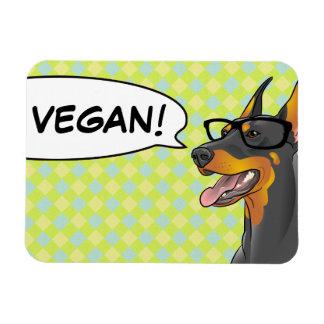 VEGANER Geek-HundeHipster-Dobermann Eckiger Magnet