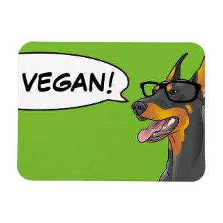 VEGANER Geek-HundeHipster-Dobermann Recchteckiger Magnet