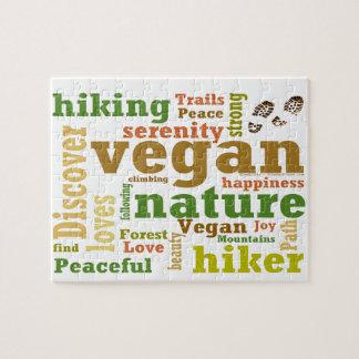 Veganer Wanderer, der Wort-Wolke wandert Puzzle