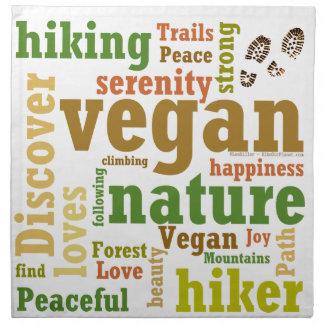 Veganer Wanderer, der Wort-Wolke wandert Serviette