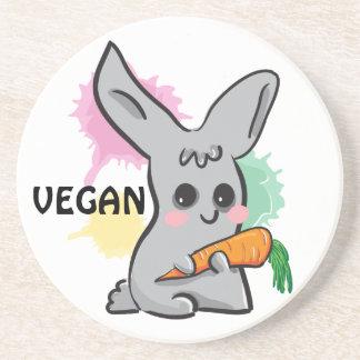 Veganes graues niedliches Häschen mit Getränkeuntersetzer