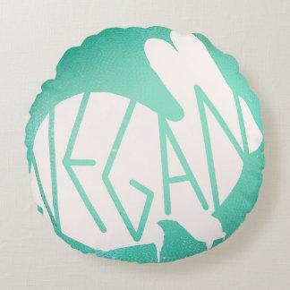 Veganes Häschen im Weiß Rundes Kissen
