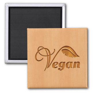 Veganes Logo geschnitzt im hölzernen Effekt Quadratischer Magnet