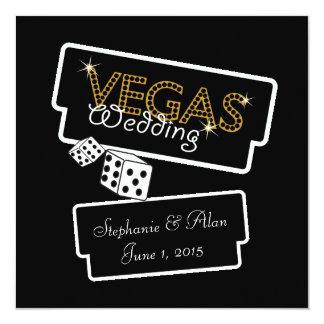 Vegas beleuchtet schwarze Hochzeits-Einladung Quadratische 13,3 Cm Einladungskarte