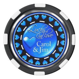 Vegas glücklich im blauen Schwarzen der Poker Chips