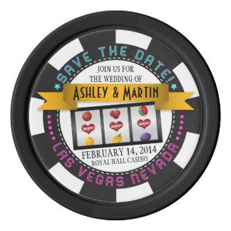 Vegas-Kasino-Hochzeit in Urlaubsort Save the Date Poker Chips Set