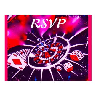 Vegas-Kasino-Thema UAWG-Einladungseinschließungen Postkarten
