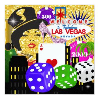 Vegas-Party - Kasino/Poker - SRF Quadratische 13,3 Cm Einladungskarte