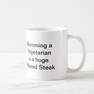Vegetarier verfehlte Steak Kaffeetasse